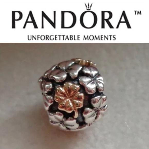 d624e3b03 Pandora Jewelry   790387 Retired 2tone Lucky Clover Charm   Poshmark